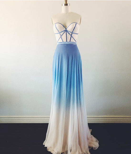 Simple sweetheart neck blue long prom dress, blue evening dress