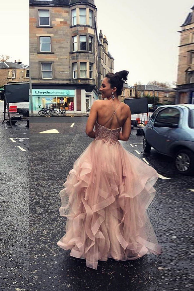 Pink tulle lace long prom dress sweet 16 dress