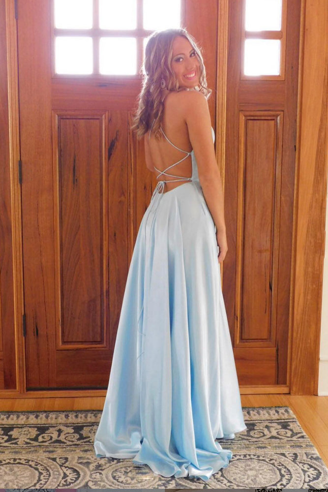 Simple blue satin long prom dress, blue long evening dress
