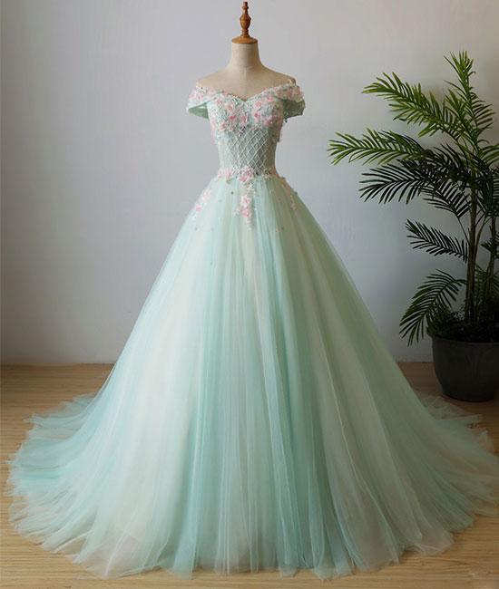 Green v neck tulle beads long prom dress, tulle evening dress