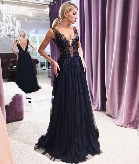 Dark blue v neck lace chiffon long prom dress, lace evening dress