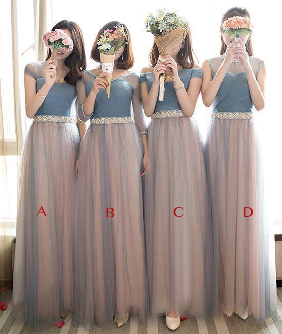 Cute tulle long prom dress, tulle gray bridesamid dress