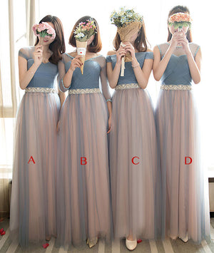 Cute tulle long prom dress, tulle gray bridesamid dress - shdress