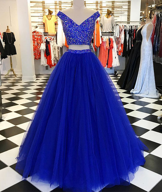 Blue v neck tulle beads two pieces long prom dress, blue evening dress