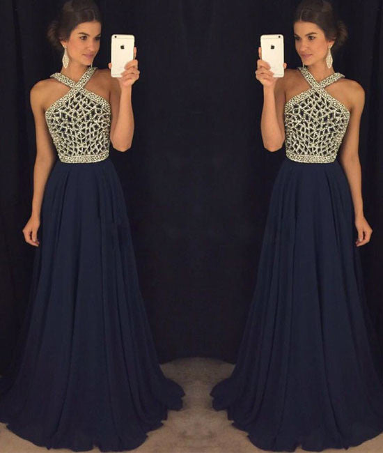 Dark Blue Beaded Long Prom Dress For Teens Dark Blue Formal Dress