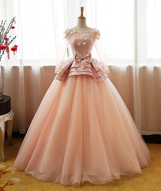 Unique tulle long prom dress, pink tulle evening dress - shdress