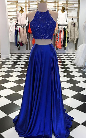 Blue two pieces long prom dress, blue evening dresses - shdress