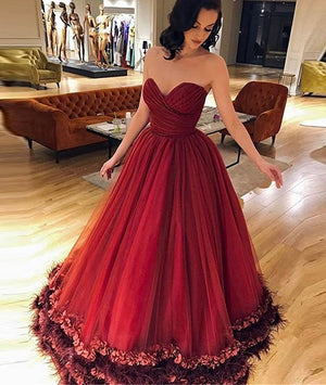 Unique sweetheart burgundy tulle long prom dress, burgundy evening dress - shdress