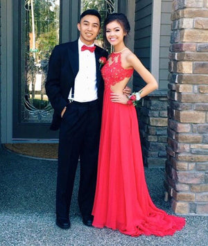Red Chiffon Lace hight Neck Long Prom Dress, Evening Dress - shdress
