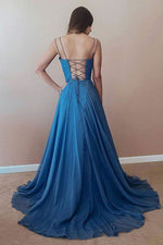 Simple blue chiffon long prom dress, blue backless evening dress