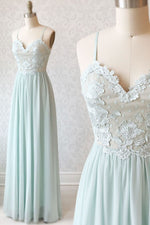Light green tulle lace long prom dress, green evening dress