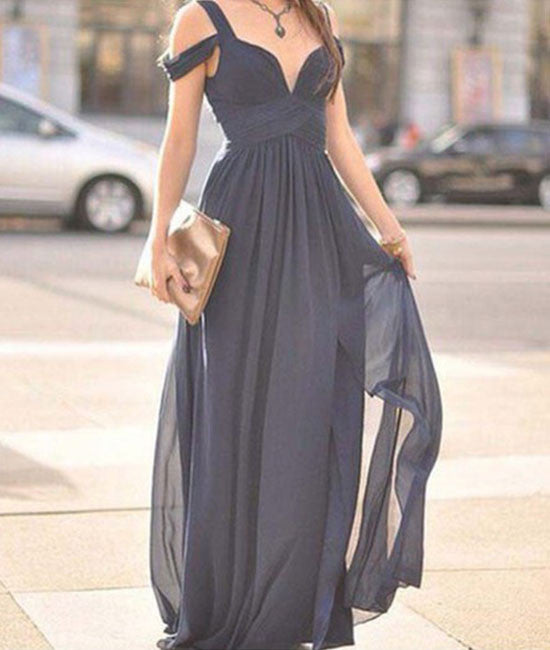Cute Gray A-line off shoulder long prom dress for teens, bridesmaid dress