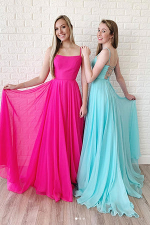 Simple chiffon backless long prom dress, chiffon evening dress