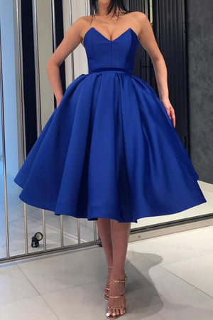 Blue satin short prom dress, blue formal dress