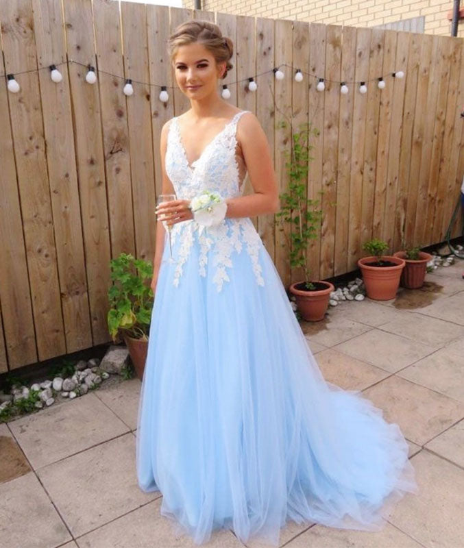 Blue v neck lace long prom dress, blue lace bridesmaid dress - shdress