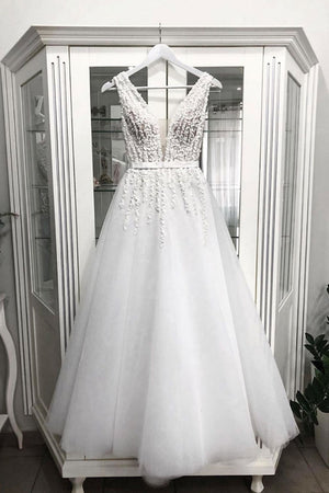 White v neck tulle tea Length prom dress, tulle evening dress