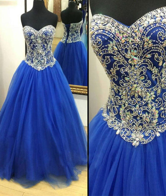 Royal blue Tulle Beaded Long Prom Dress, blue evening dresses