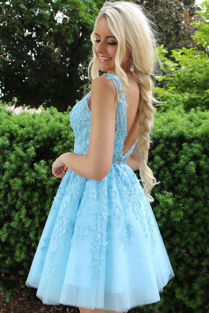 Blue tulle lace short prom dress, blue homecoming dress