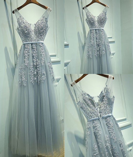 Gray A-line lace tulle long prom dress, lace tulle bridesmaid dress - shdress