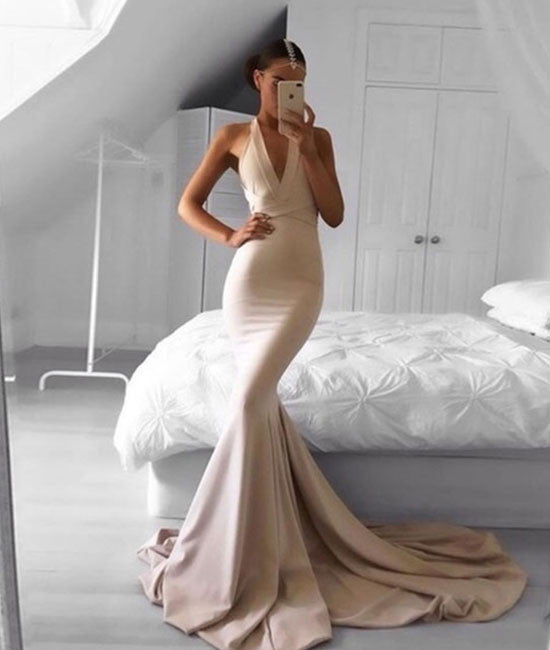 Simple champagne mermaid long prom dress, champagne evening dress