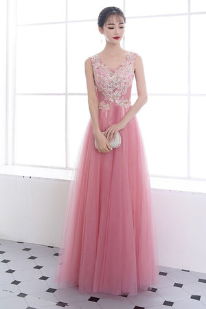 Pink v neck tulle lace long prom dress, pink tulle evening dress
