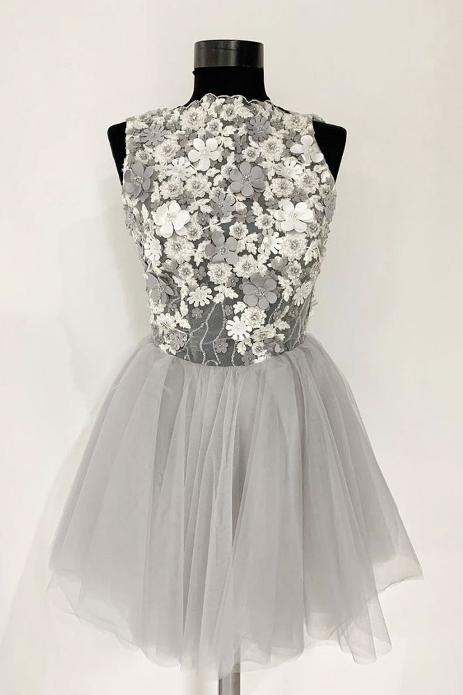 Gray tulle lace short prom dress, gray tulle homecoming dress