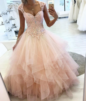 Pink sweetheart lace tulle long prom dress, pink evening dress - shdress