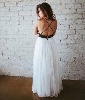 Simple White Chiffon Backless Long Prom Dress, Evening Dress - shdress