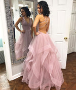 Simple pink tulle long prom dress, pink tulle evening dress