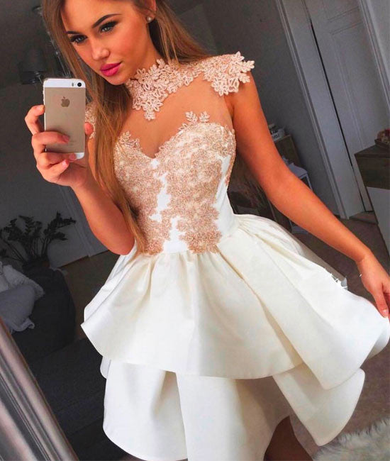 Cute white lace short prom dress, cute homecoming dress - shdress
