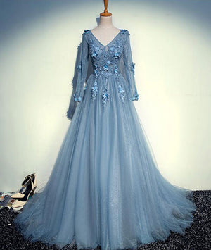 Blue v neck tulle lace long prom dress, blue evening dress - shdress