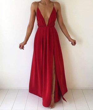 A-line Backless Red Long Prom Dress, Evening Dress - shdress