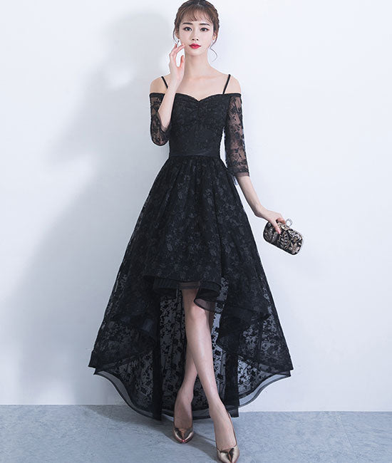 Black sweetheart lace high low prom dress, lace evening dress