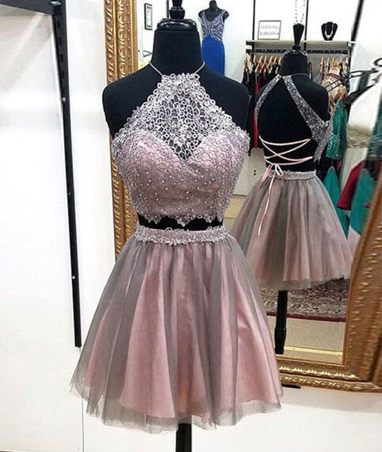 Cute lace tulle short prom dress, cute homecoming dress
