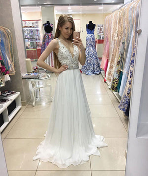 White v neck lace long prom dress, evening dress - shdress