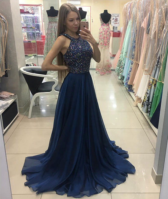 Dark blue beads chiffon A-line long prom dress, blue evening dress