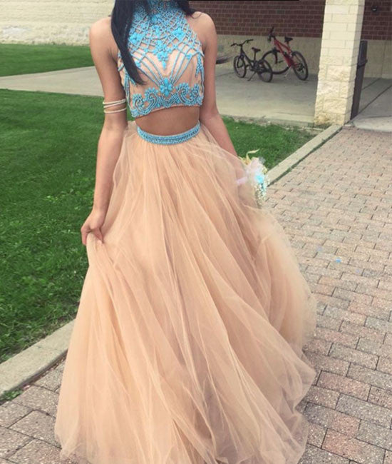 Champagne tulle two pieces beads long prom dress, evening dress