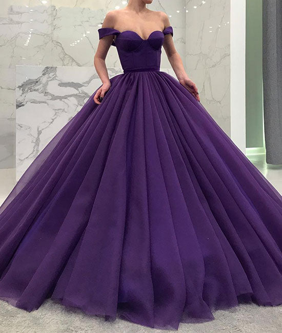 Purple tulle off shoulder long prom gown, tulle evening dress - shdress