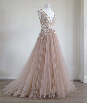Champagne v neck tulle lace applique long prom dress, champagne evening dress - shdress