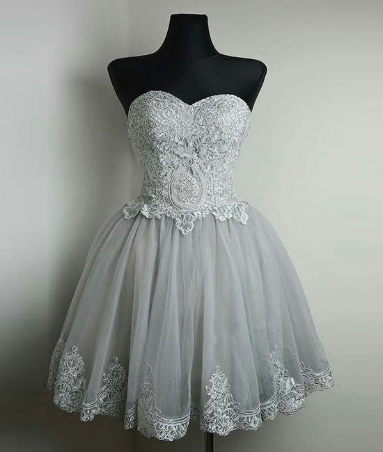 Cute gray tulle lace short prom dress, gray homecoming dress