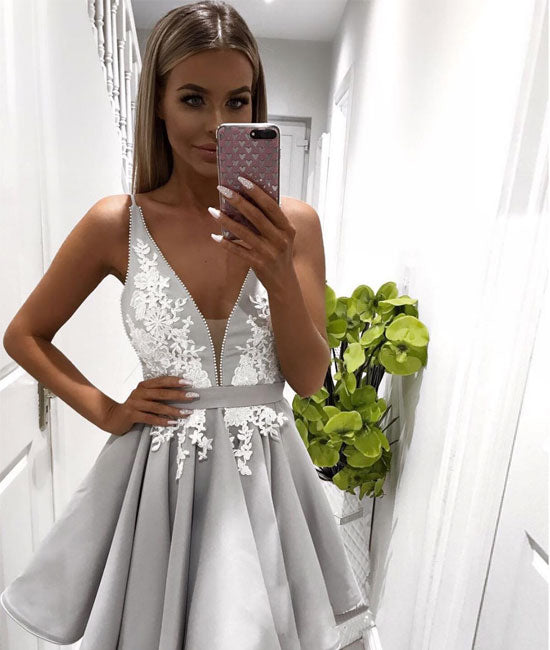 Cute gray lace short prom dress. homecoming dress - shdress