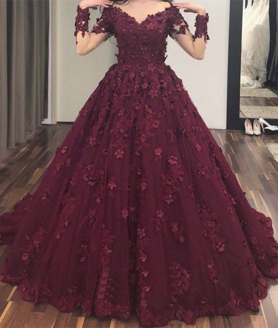 Burgundy v neck tulle applique long prom dress, burgundy evening dress - shdress