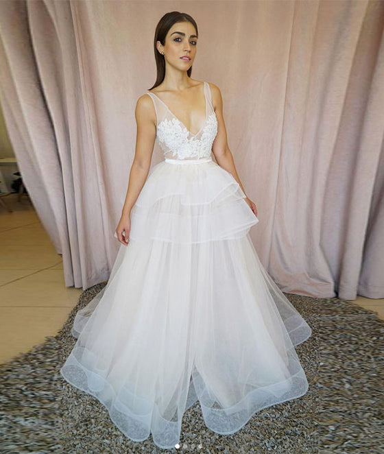 White v neck tulle lace long prom dress, white tulle evening dress