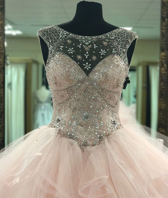 Pink round neck tulle beads long prom gown, pink sweet 16 dress - shdress