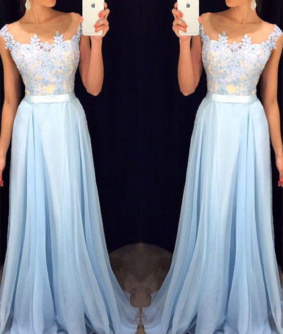 A-line Round Neck Lace Applique Chiffon Long Prom Dress, Formal Dress