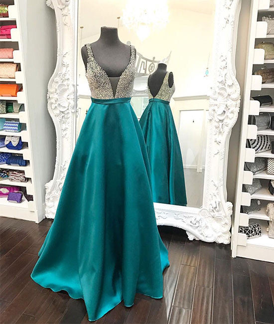 Green v neck sequin long prom dress, green evening dress - shdress