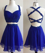 Blue two pieces lace short prom dress, cute homecoming dress