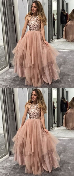 Champagne round neck tulle sequin long prom dress, evening dress - shdress