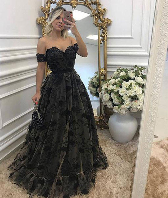 Black lace long prom dress, black lace evening dress