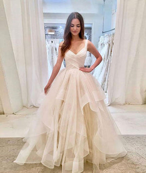 Simple light champagne tulle long prom dress, tulle evening dress - shdress